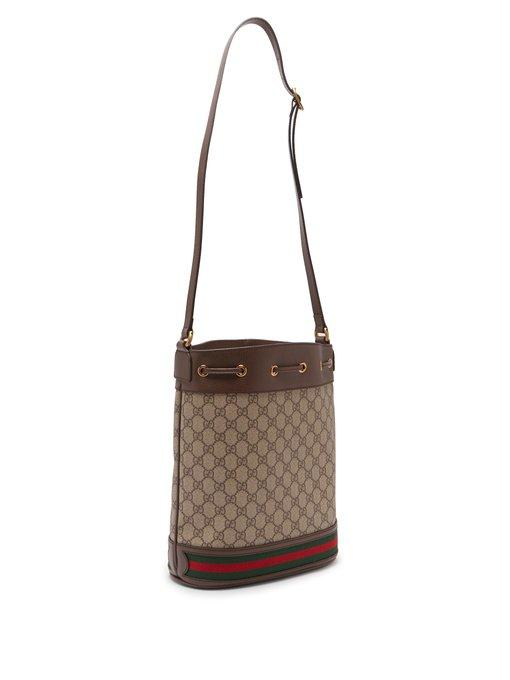 0c5e6a039 Gucci Ophidia Gg Supreme Canvas Drawstring Bucket Bag In 8745 Brown ...