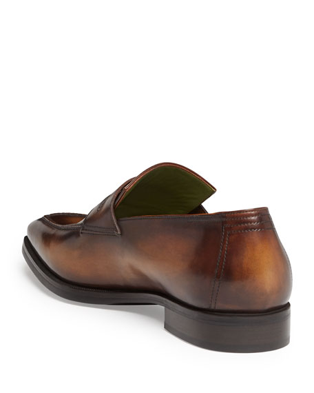BERLUTI ANDY LEATHER LOAFER, TOBACCO,PROD200540276