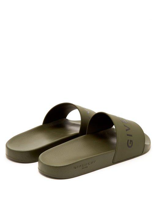 70d300655800 Givenchy Logo-Print Rubber Slides - Army Green