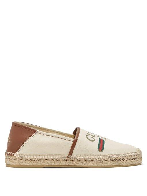 6772241359e Gucci Alejandro Collapsible-Heel Logo-Print Canvas Espadrilles - Off-White  In Neutrals