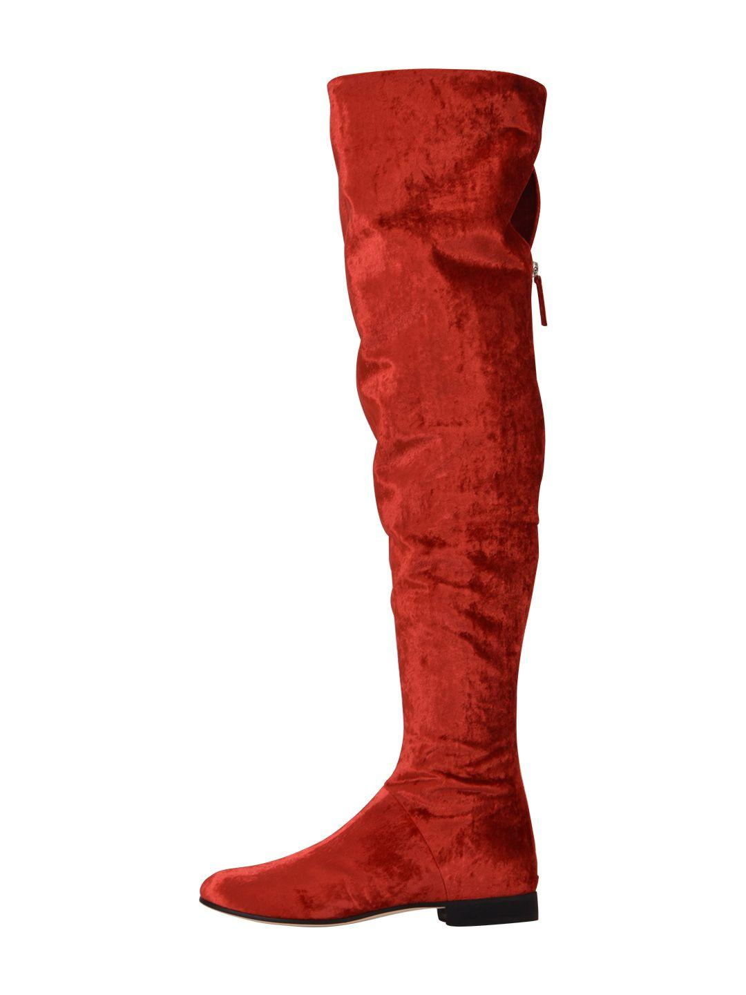 c71a5eaa268 Alberta Ferretti Velvet Over-The-Knee Boots In Red