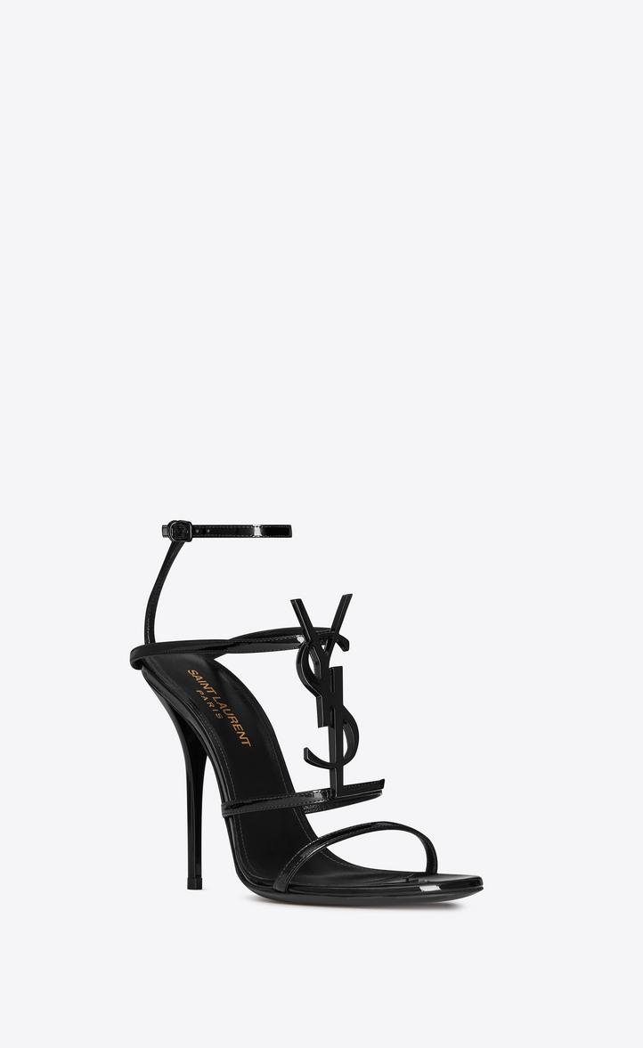 SAINT LAURENT cassandra sandals with black logo in patent leather (110)