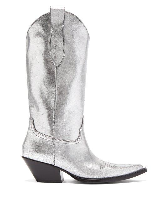 6c2d08e8a52 Western Leather Boots in Silver