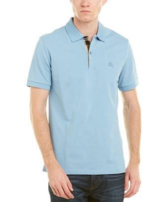 Burberry Mens Check Placket Cotton Pique Polo Shirt, S, Blue