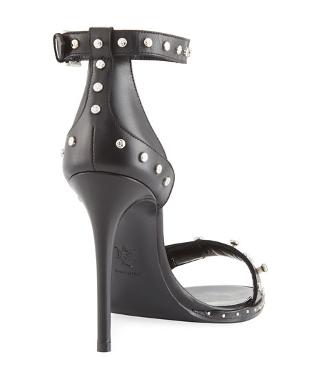 Alexander Mcqueen Studded Leather High Sandal In Black