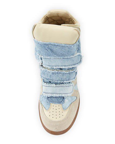 e9a11b4edf Isabel Marant Bekett Denim Wedge High-Top Sneakers In Female   ModeSens