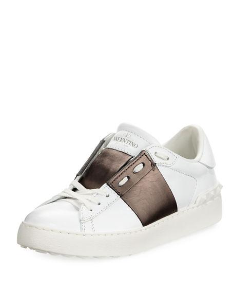 cedaed301e6e Valentino Leather Low-Top Metallic Colorblock Sneakers In White ...