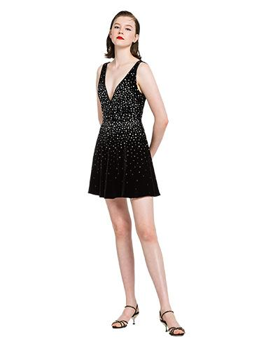 4c334b0f47b Miu Miu V-Neck Studded Velvet Fit-And-Flare Cocktail Dress In Black ...