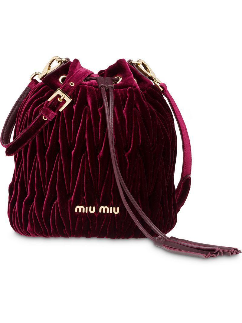 683ad698ae1 Miu Miu Matelassé Bucket Bag - Red