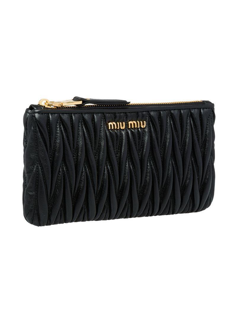 abaa32f9bd1d Miu Miu MatelassÉ Leather Pouch In Black