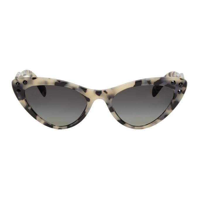 5eaff1e1e03 Miu Miu Beige Logomania Cat-Eye Sunglasses In Kad3M1 Sand