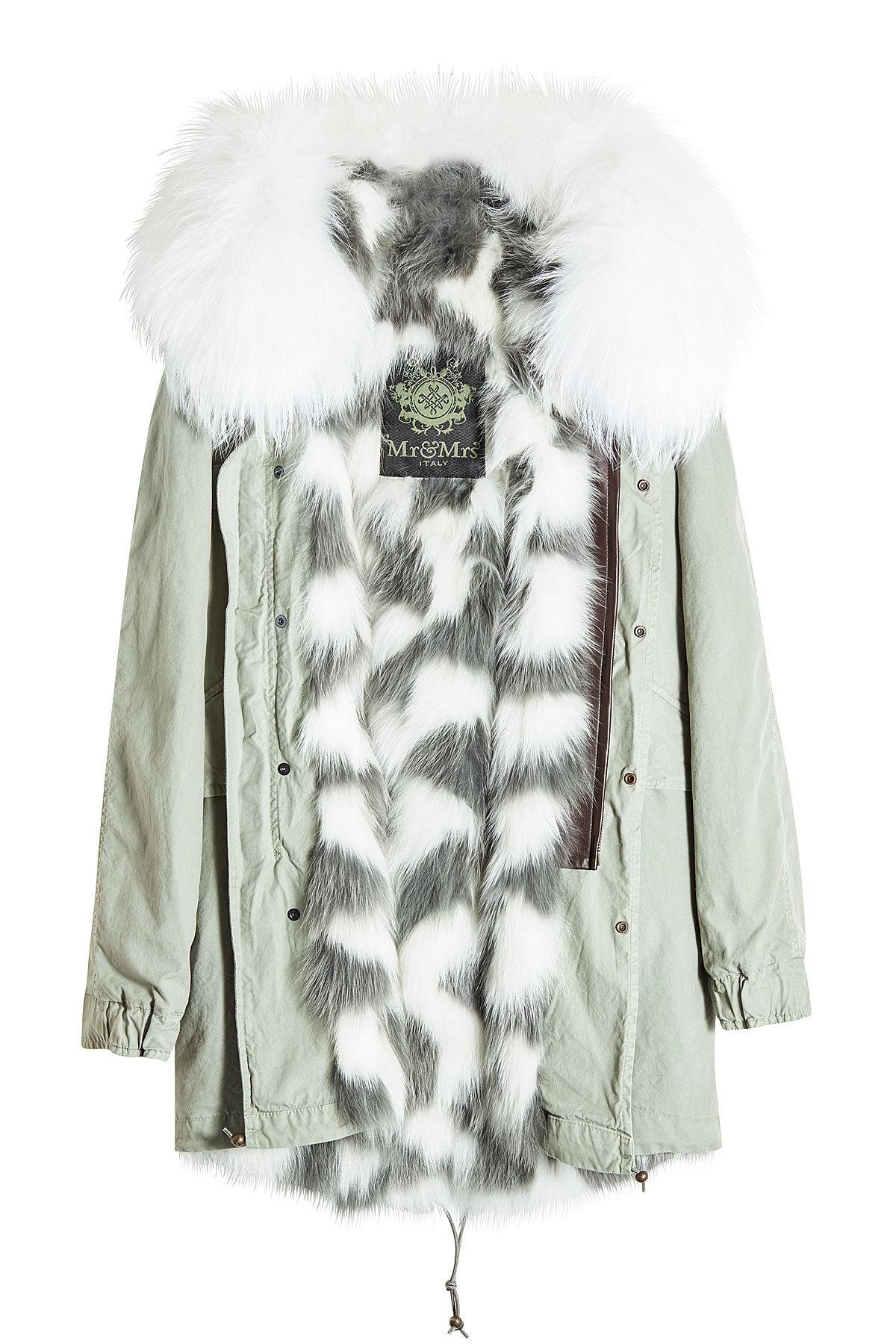 Mr Mrs Italy Saline Rosemary Cotton Parka With Raccoon And Fox Fur In Grey Modesens