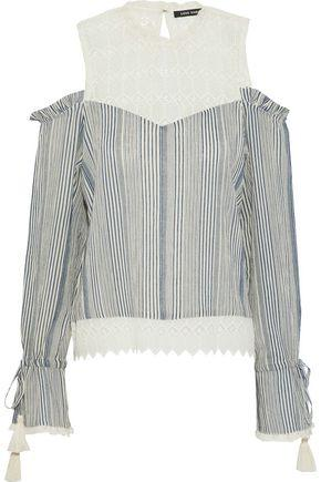6a76cb7c26357 Love Sam Woman Okan Cold-Shoulder Crochet-Paneled Striped Cotton-Gauze  Blouse Midnight