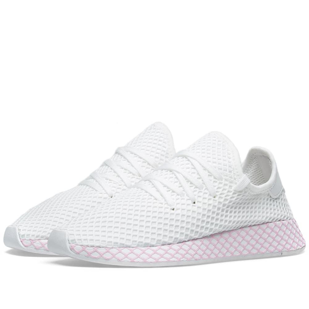 buy online d5a9e e2890 Adidas Originals Deerupt Runner Suede-Trimmed Mesh Sneakers In White