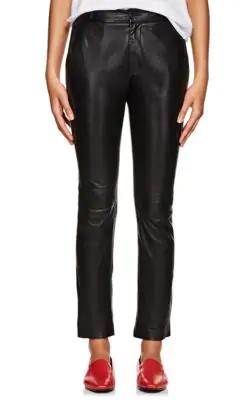 ebf05cfe9a76 Nili Lotan East Hampton Straight-Leg Leather Pants In Black