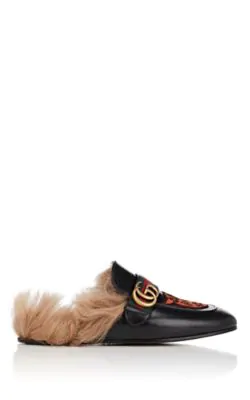 Gucci Princetown Embroidered Slipper With Double G In Black