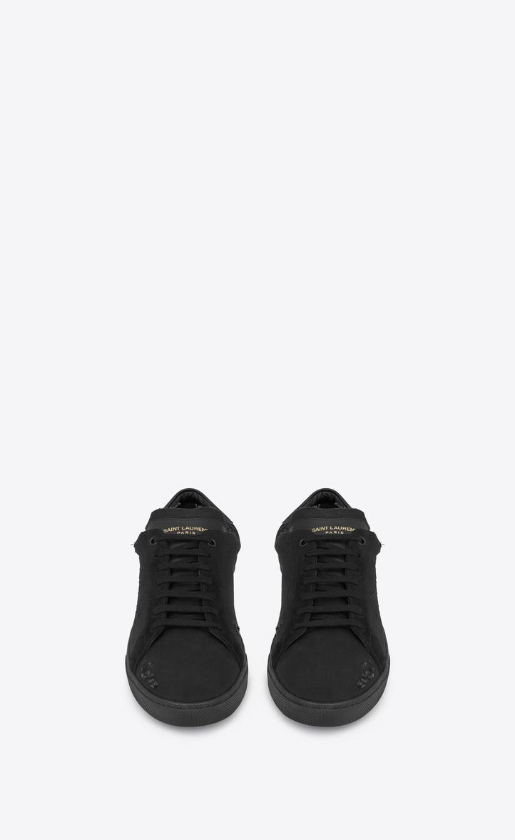 9ff38d2b9a43 Saint Laurent Court Classic Sl 06 Embroidered Sneakers In Fabric And Leather  In Black