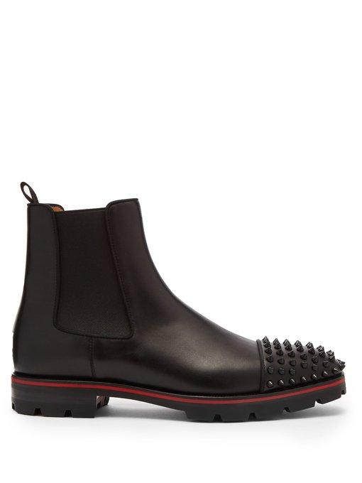 Christian Louboutin Melon Leather Chelsea Boots In Black