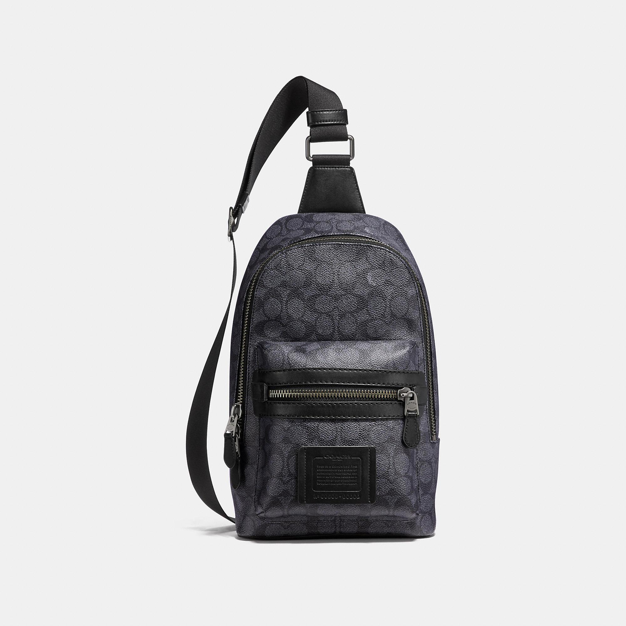 Coach academy pack in signature canvas mens in charcoal black antique nickel