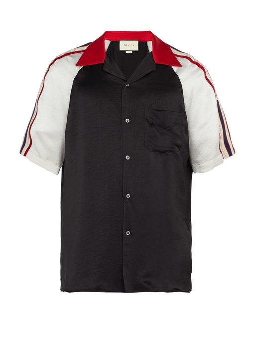 16b144d6cb8e Gucci Logo-Detailed Silky Twill Bowling Shirt In 1159 Black | ModeSens