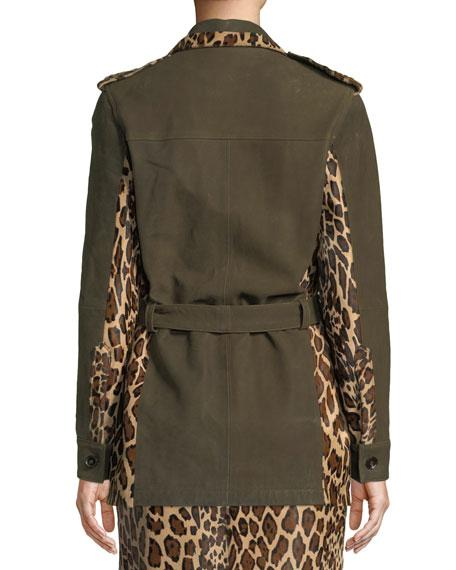 78ff51847 Button-Front Suede Military Jacket W/ Leopard Calf Hair Patchwork in Khaki