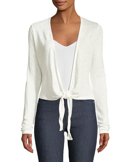 d9c84daa4c Theory Long-Sleeve Linen Wrap Cardigan In White | ModeSens