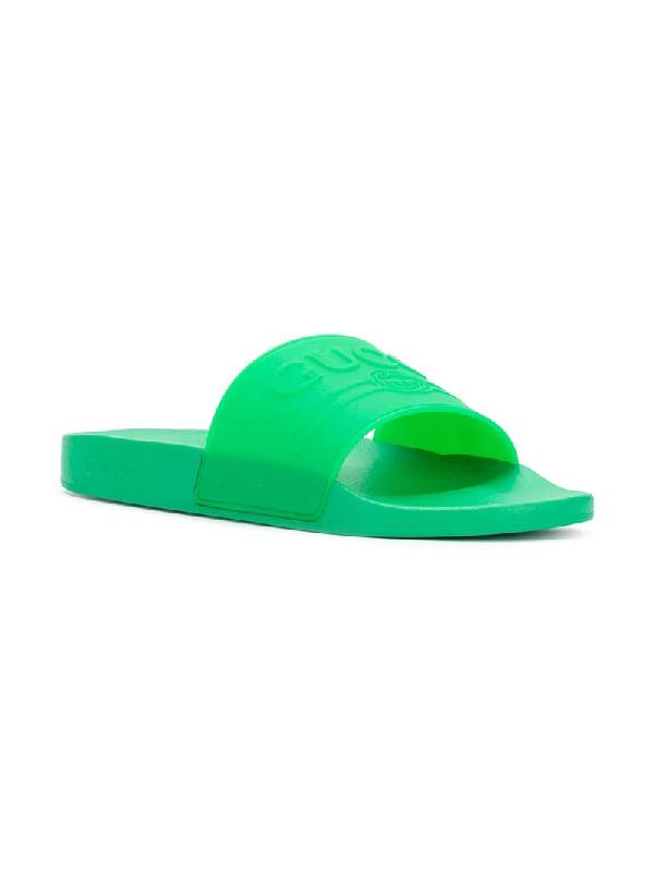 ba3689e557d4 Gucci Logo-Embossed Rubber Slides - Bright Green
