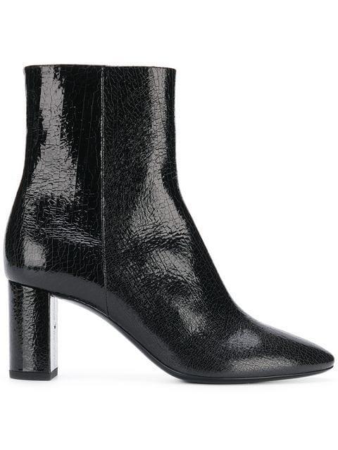 99e1ff5c917 Saint Laurent Block Heel Ankle Boots - Black