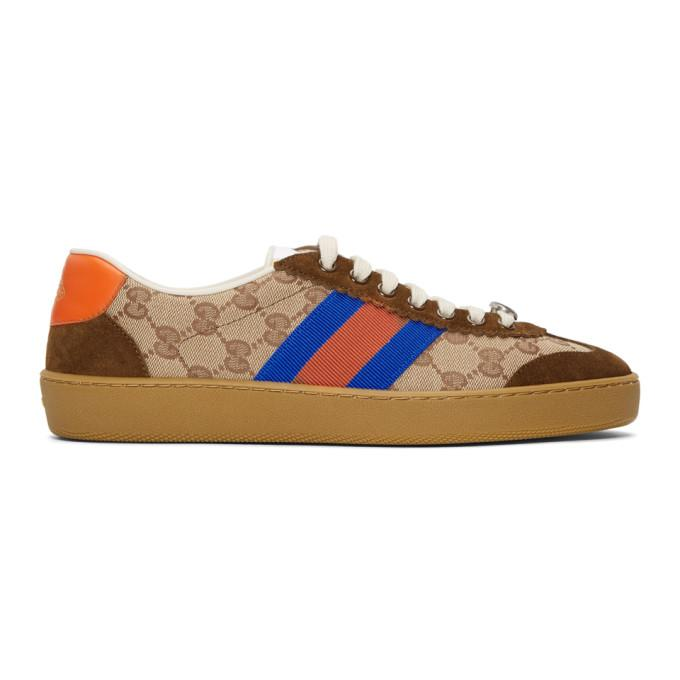 2f45a6cfc98 Gucci G74 Original Gg Sneakers With Web Brick Red Beige In Brown ...