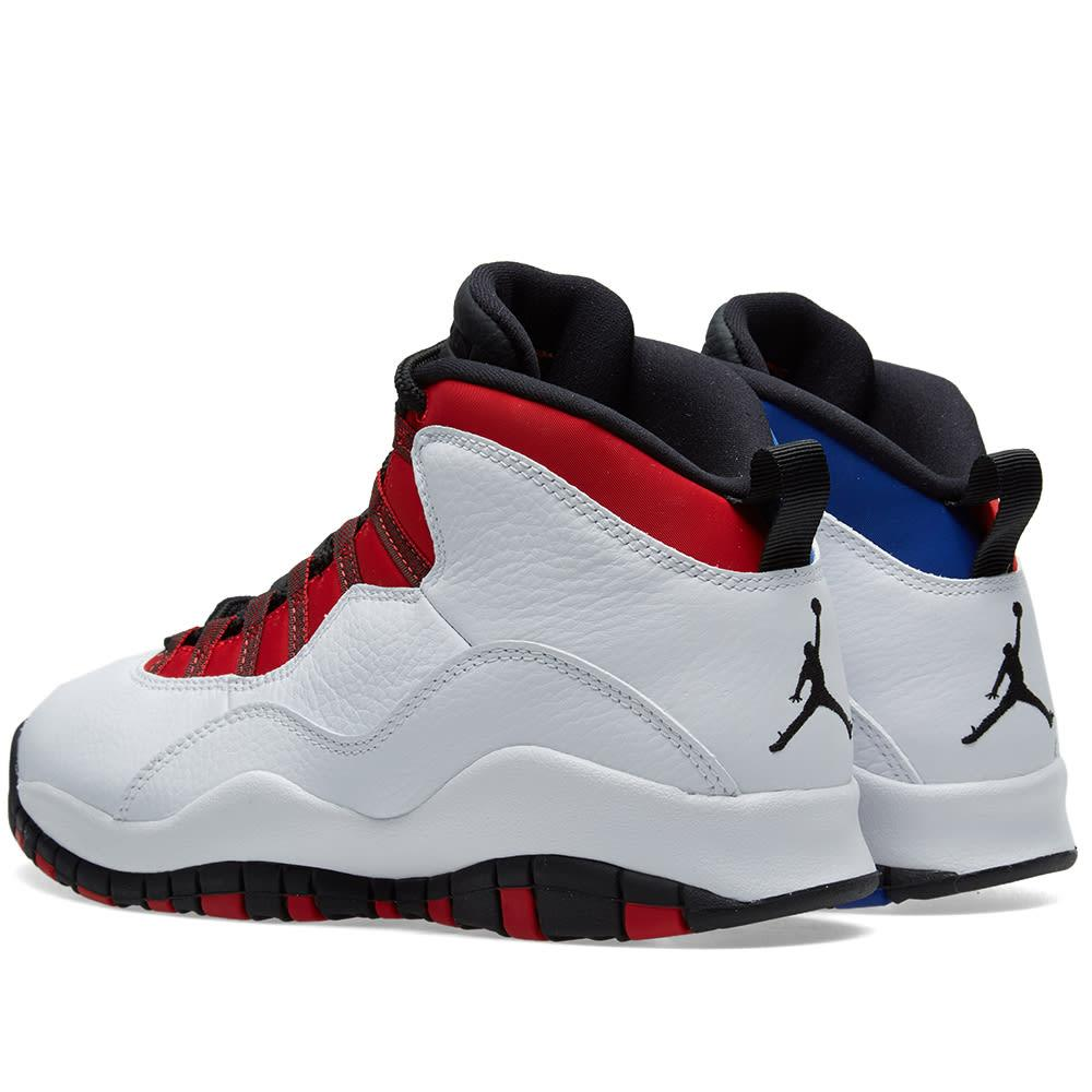 buy online 1961a ec9fe Nike Men s Air Jordan 10 Retro Basketball Shoes, White Red