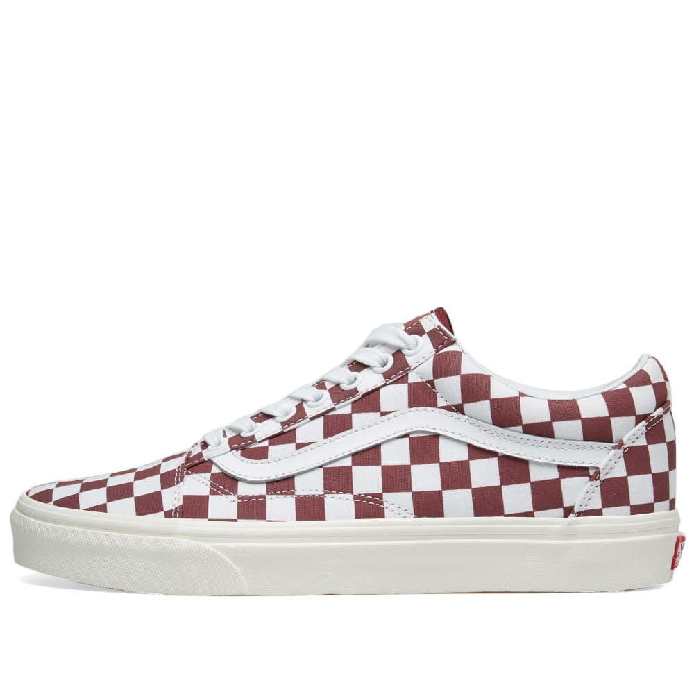 1ad45b655a5d89 Vans Old Skool Checkerboard In Burgundy
