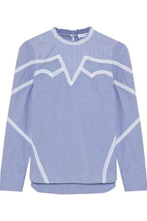 6dcdeaaabff199 Sandro Woman Suzan Lace-Trimmed Checked Cotton-Poplin Top Blue ...