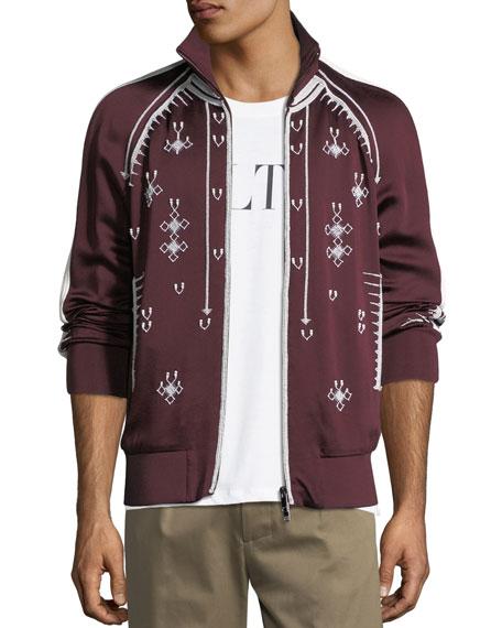 9486381e4 Beaded Zip-Front Track Jacket, Dark Red