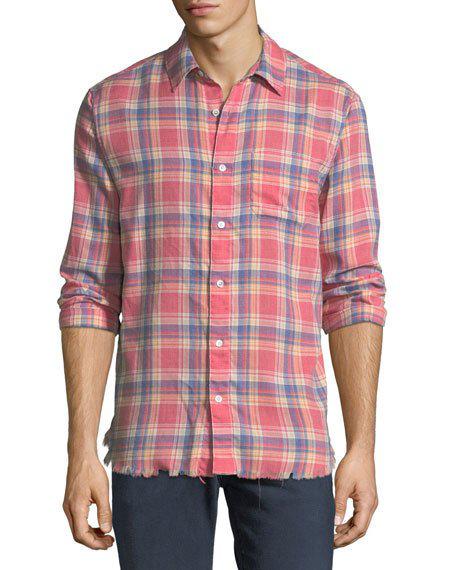 Frame Frayed Flannel Long Sleeve Shirt Dark Pink In Dkpnkcheck