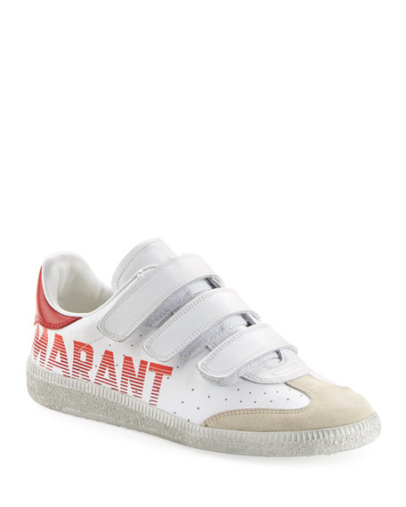 05fe0e82a63 Isabel Marant 20Mm Beth Logo Leather Strap Sneakers In White   ModeSens