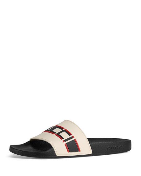 2e49b96808a94 Gucci Women s Pursuit Stripe Slide Sandals In Cream