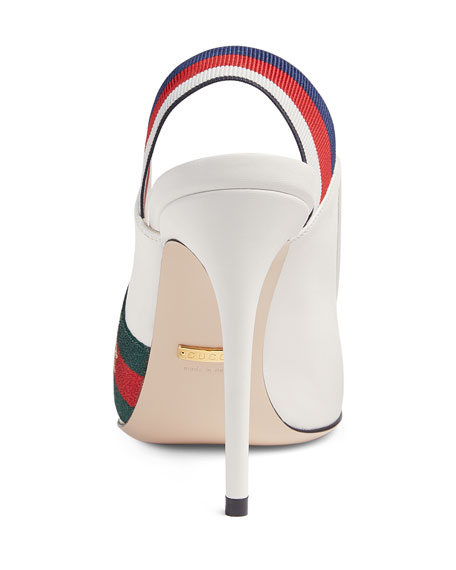 Gucci Sylvie Grosgrain-Trimmed Leather Slingback Pumps In White