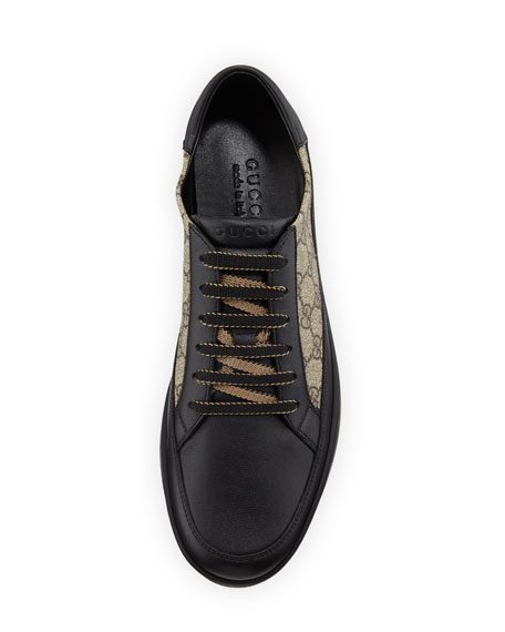 Gucci Common Gg Supreme Leather And Canvas Trainers In Black