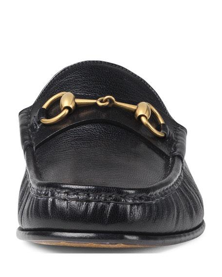 e0e182e36 Gucci Open Roos Horsebit Leather Backless Loafers In 1000 Nero ...