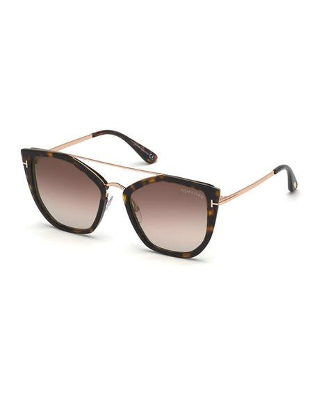 4d51dbdb6650 Tom Ford Dahlia Butterfly Metal   Acetate Sunglasses In Brown