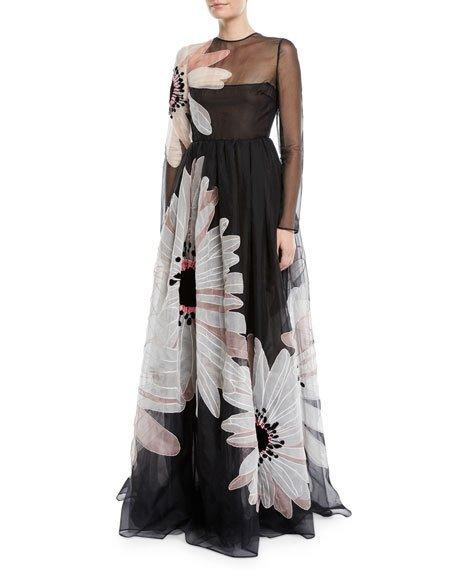 Valentino Long-Sleeve Floral-Embroidered Organza Evening Gown In Black Multi