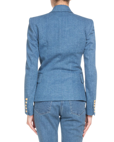 f4374e4af78d Balmain Double-Breasted Classic Denim Blazer In Blue