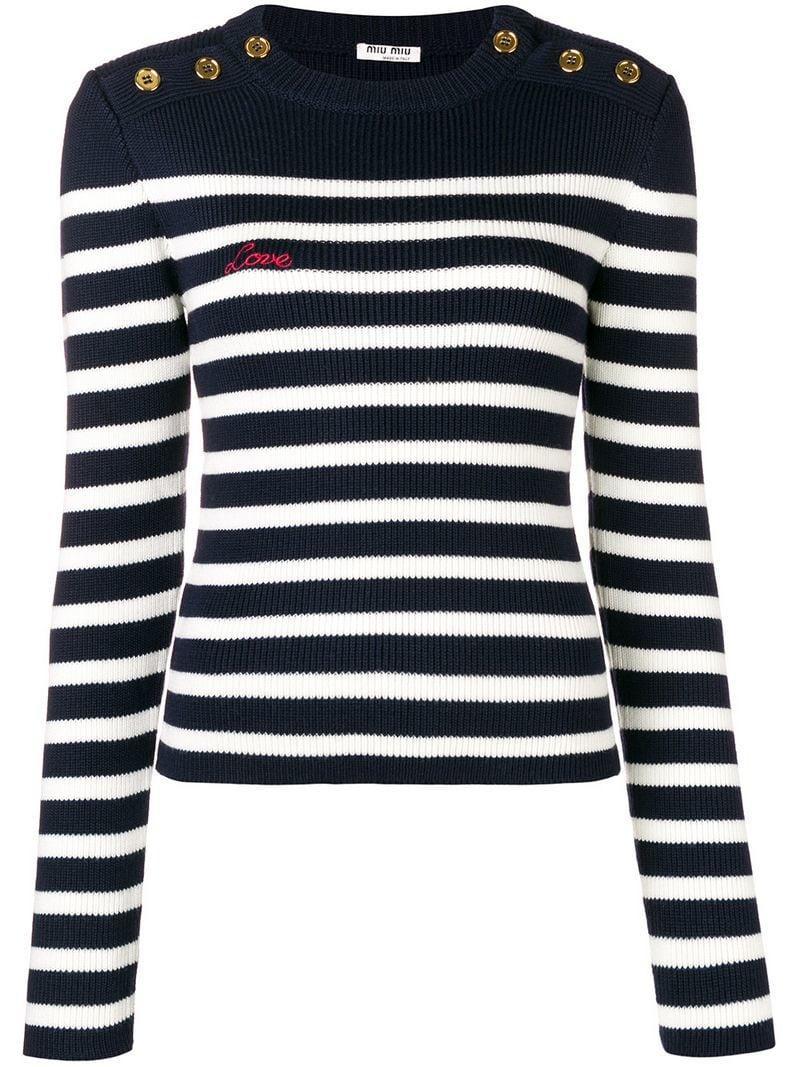 c0fdbe474e90 Miu Miu Striped Rib-Knit Jumper - Blue. Farfetch