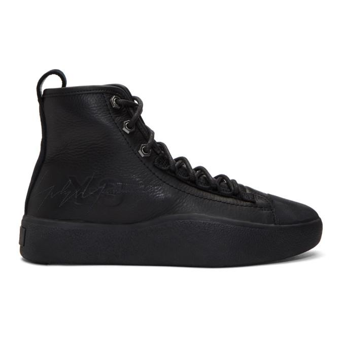 Men's Bashyo Leather High Top Sneakers in Black