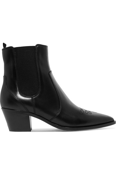 c6ea13ac9 Gianvito Rossi Embroidered Leather Western Ankle Boots In Black ...