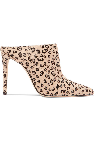 47204f2ec5a Davidson Leopard-Print Calf Hair Mules in Neutral