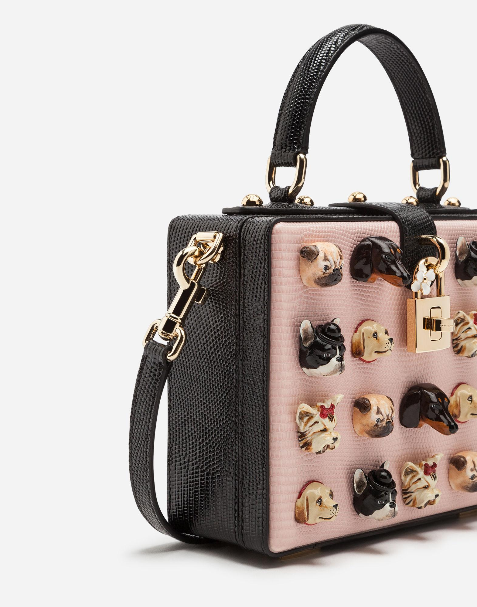 6e6ce777e1c Dolce   Gabbana Dolce Box Bag In Iguana Print Calfskin With Dogs Embroidery  In Pink