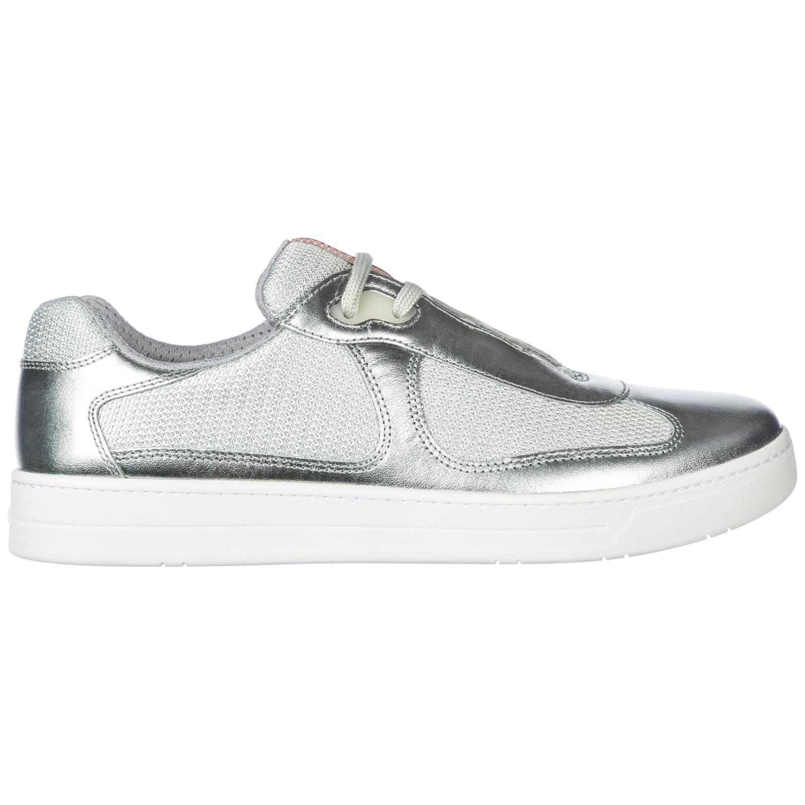 Men's Shoes Leather Trainers Sneakers America S Cup In Silver