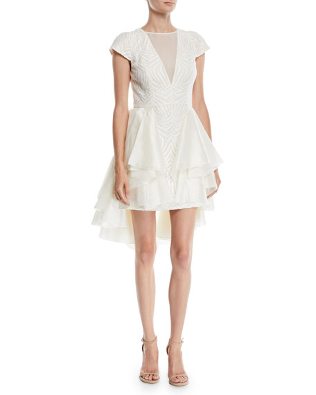 Cap Sleeve Lace Dress W Skirt Overlay In Off White