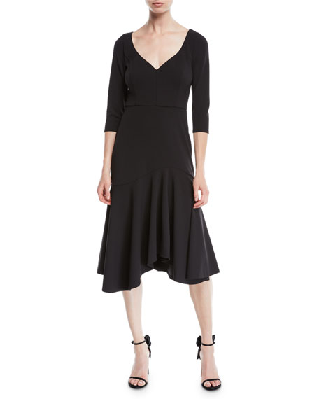 12a5582cdfaa Halston Heritage Quarter-Sleeve Wide V-Neck Flounce Dress In Black ...